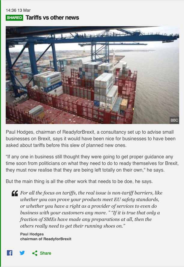 BBC News on Brexit – Tariffs vs other news comment by Paul Hodges, Ready for Brexit chairman