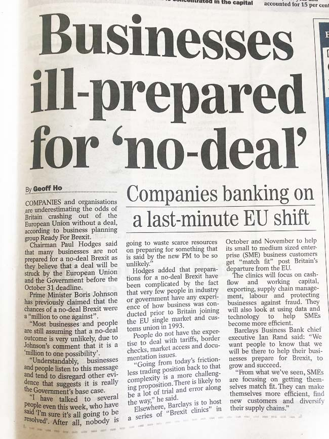 Business ill-prepared for No-Deal Brexit – Sunday Express 18 Aug 2019